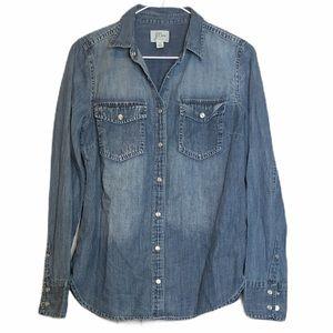 J. CREW Western Chambray Shirt Vintage Indigo 8